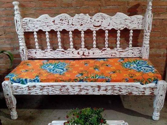 Como fazer banco com cama antiga | Bancos, Reciclado y Camas