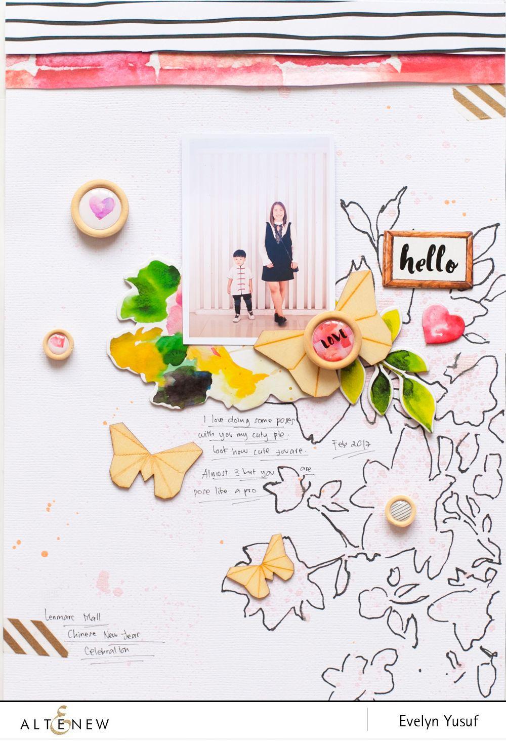 Create your own scrapbook - Altenew Stencils Ink Sprays Release Blog Hop Giveaway Create Your Ownthe Flowersscrapbook