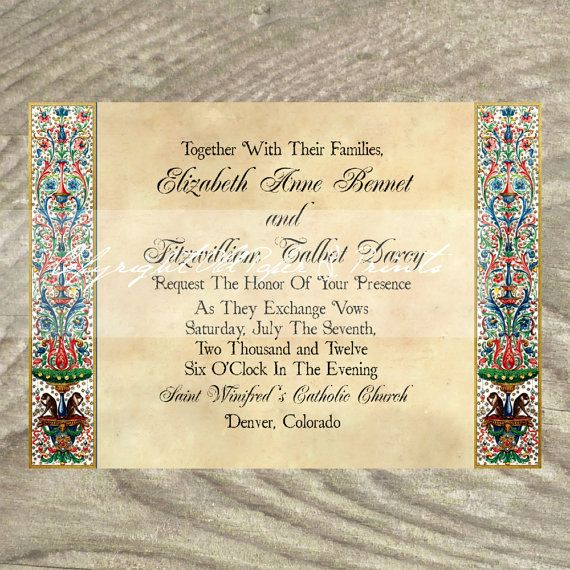Handmade Detroit Skyline Wedding Invitations By Lano: Wedding Invitations Renaissance Medieval Manuscript By