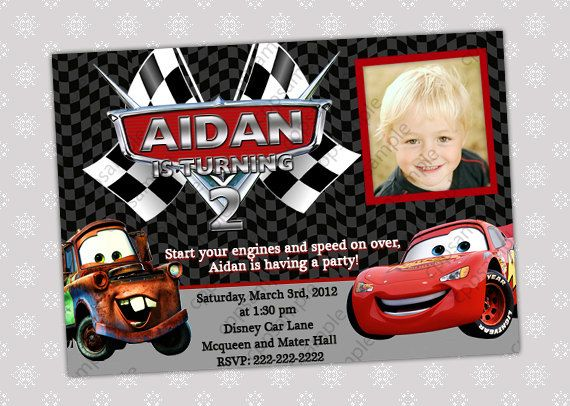 Disney Cars Lightning McQueen And Mater Photo Birthday Party Invitation