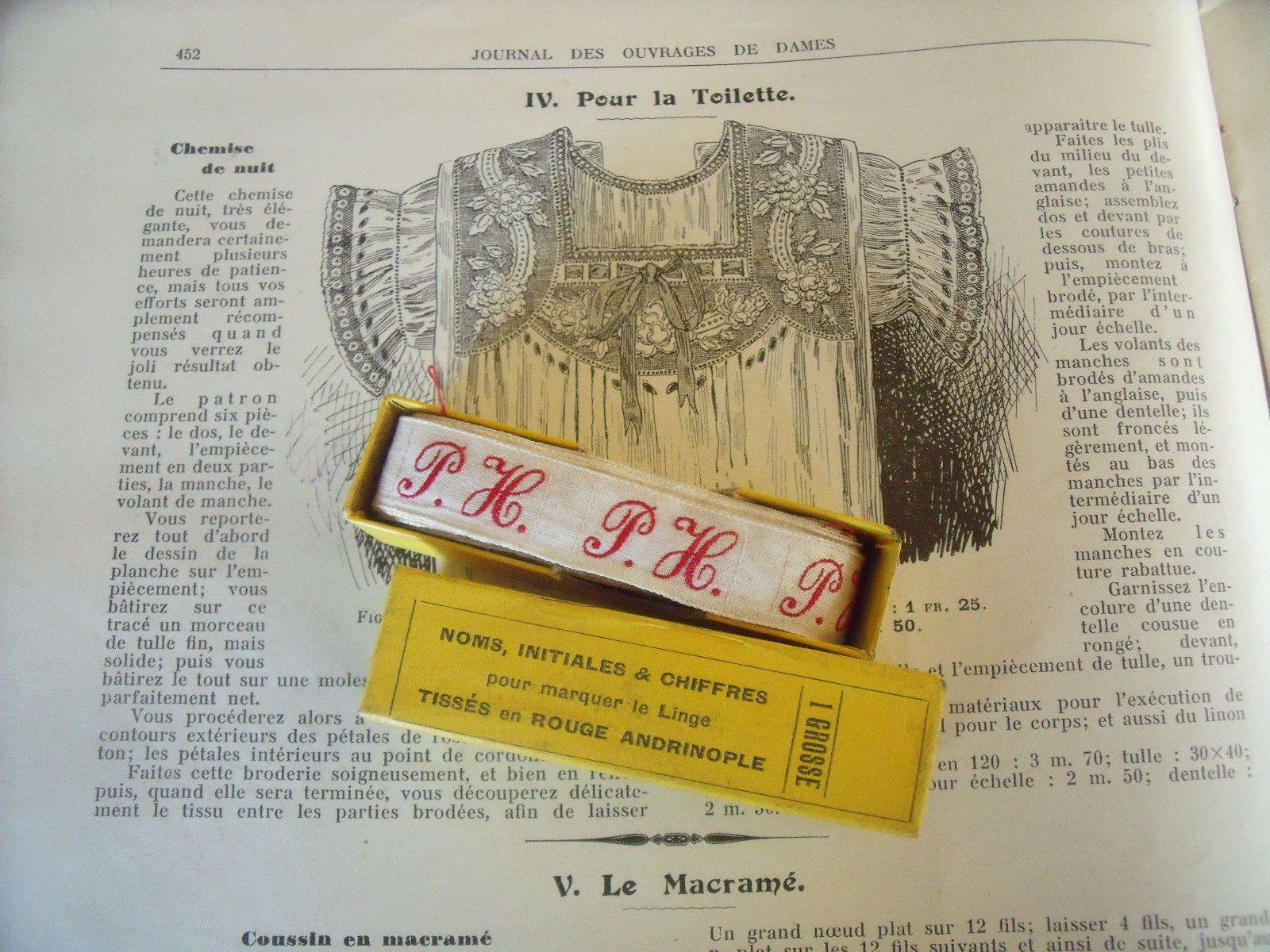 "ANCIENNES INITIALES TISSES ROUGE ANDRINOPLE """".P H """" 140 INITIALES in Möbel & Wohnen, Hobby & Künstlerbedarf, Nähen | eBay"