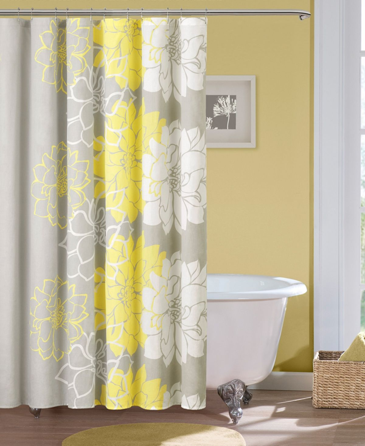 Madison Park Lola 72 X 72 100 Cotton Floral Printed Shower Curtain Reviews Shower Curtains Bed Bath Macy S Yellow Shower Curtains Gray Shower Curtains Floral Shower Curtains
