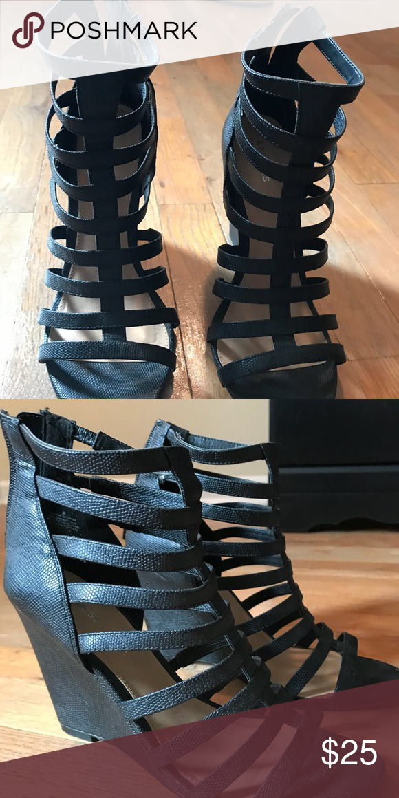 413f3899571 EXPRESS Strappy Wedge Sandals Black Strap Heels with zipper Express Shoes  Wedges