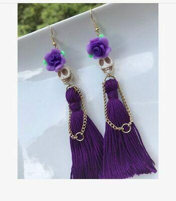 Skulls with Purple Tassels Dangle Earrings,Skull Jewelry, Skull Drop Earrings,   eBay