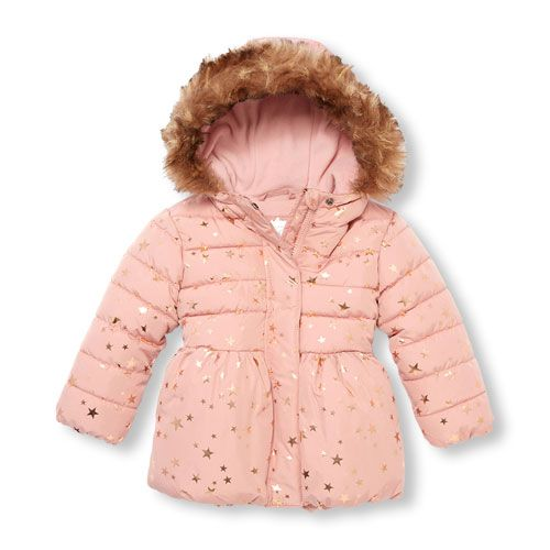 a77556272 Toddler Girls Long Sleeve Foil Star Print Faux Fur Hooded ...