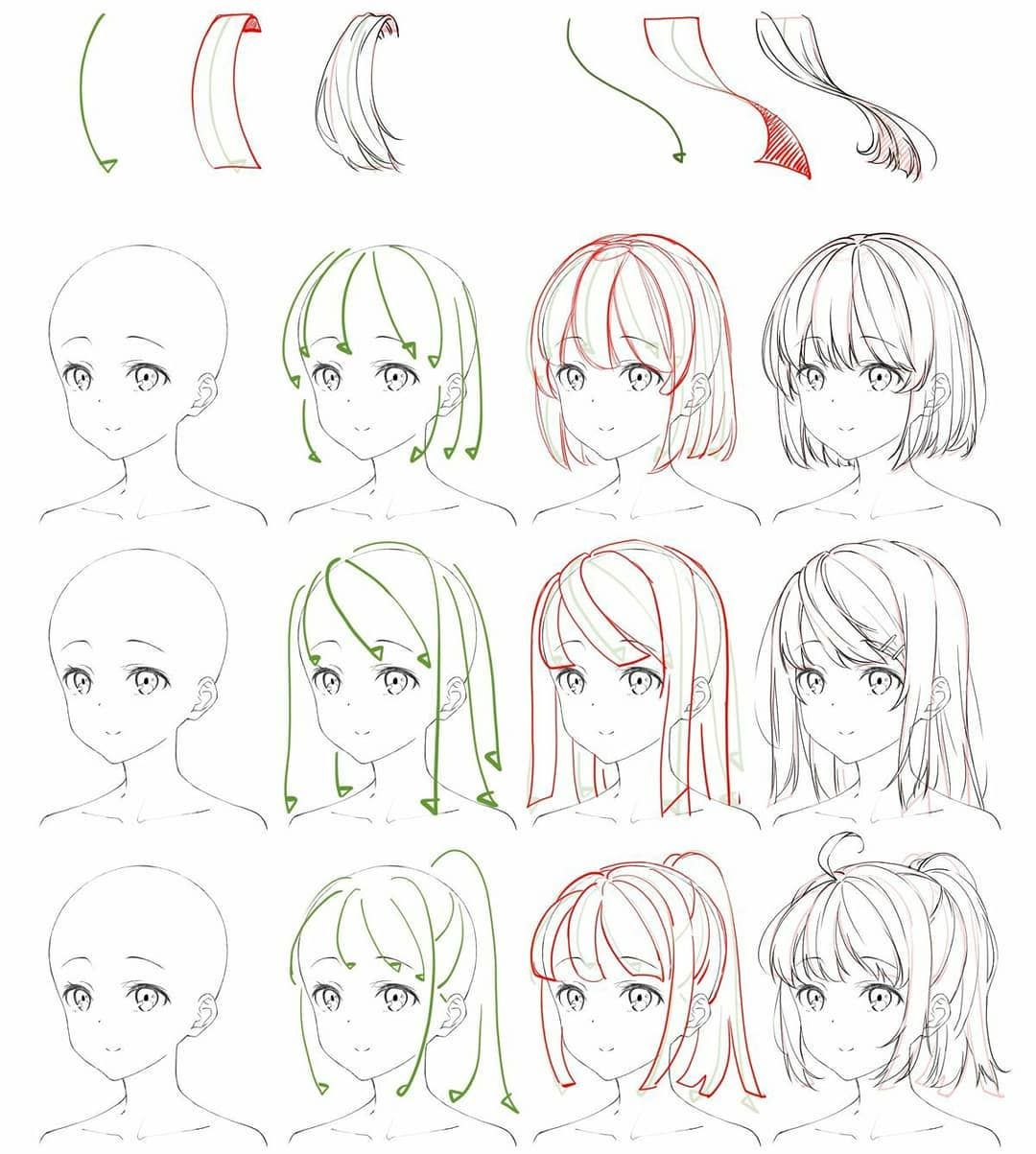 Reference Sheet Of How To Draw Anime Flowing Hair Credit T Anime Drawings Tutorials Anime Drawings Sketches Manga Drawing Tutorials