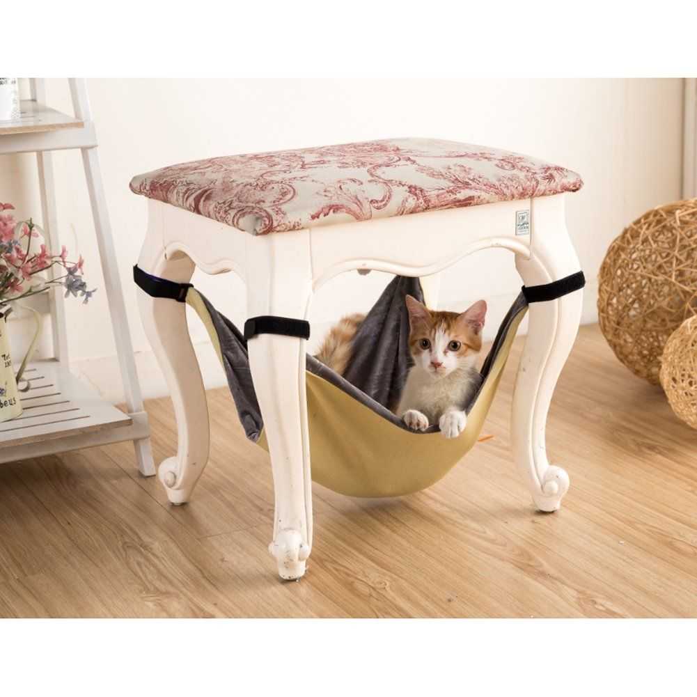 cat hammock under chair office master yes lalawow breathable with 4 adjustable velcro free slip rings and buckles kaki