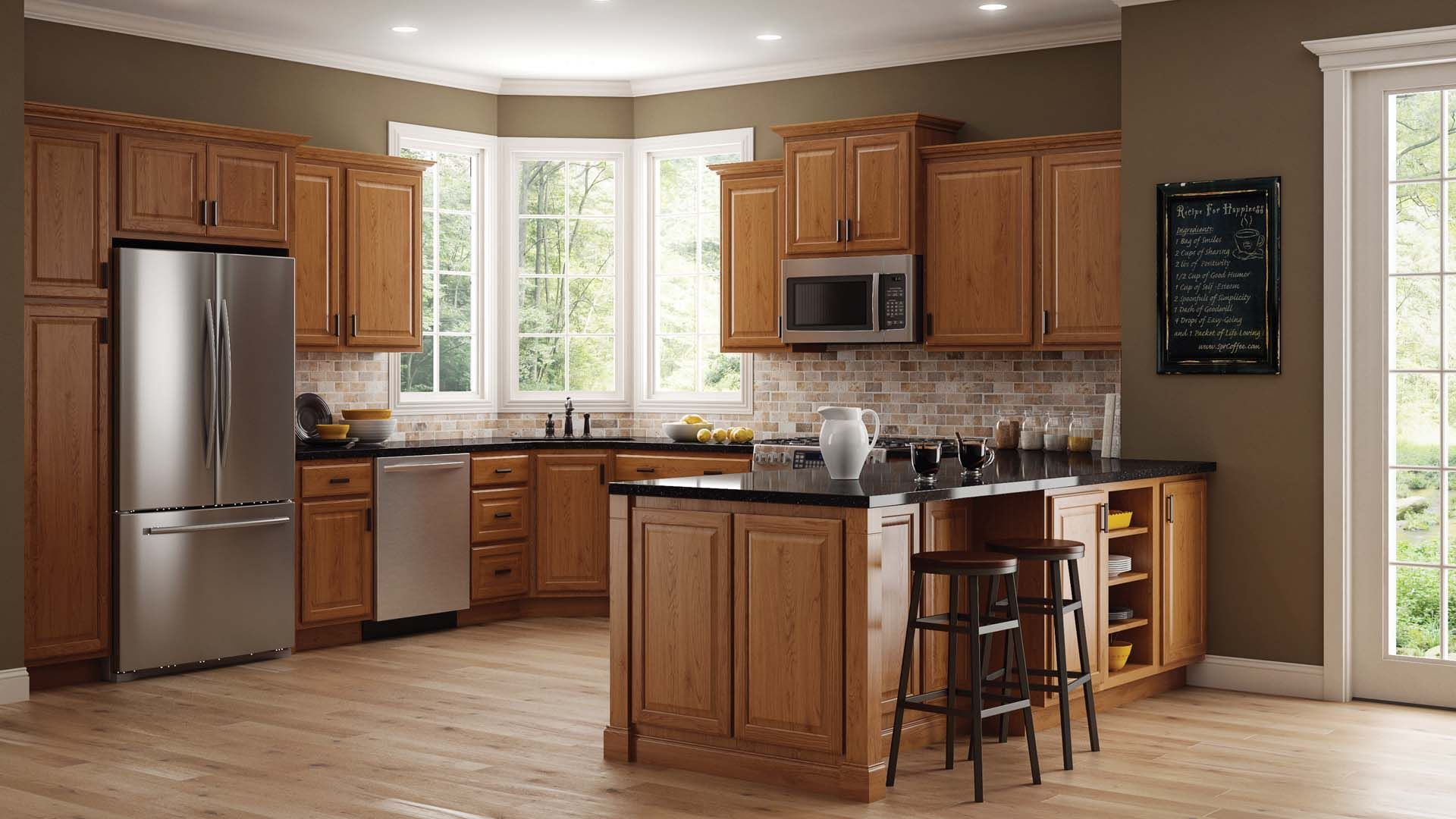 Hampton Wall Kitchen Cabinets In Medium Oak Kitchen The Home Depot Oak Kitchen Cabinets Oak Kitchen Grey Painted Kitchen