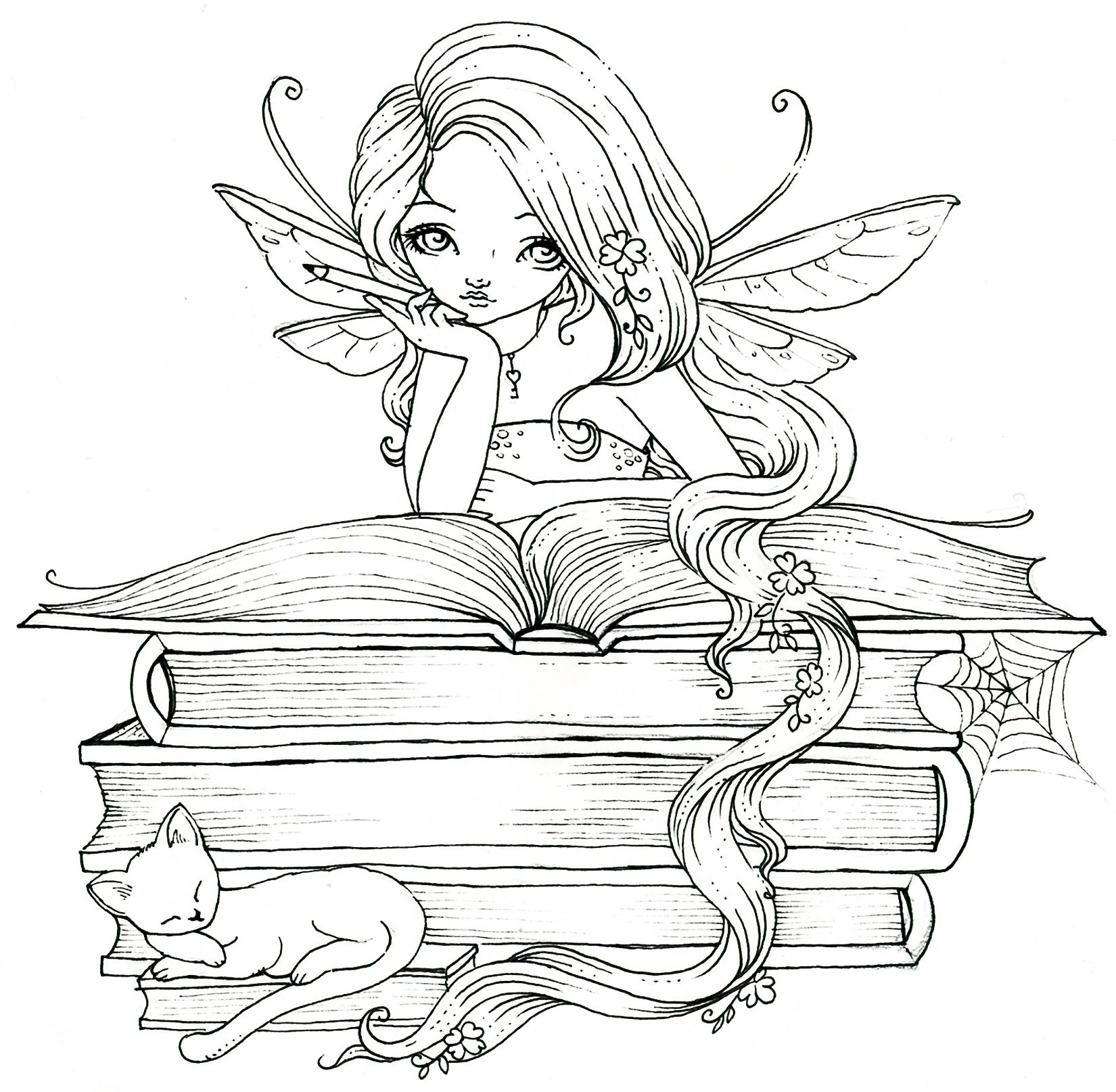 Fairy book lover. Perhaps she's reading Fairy Tales