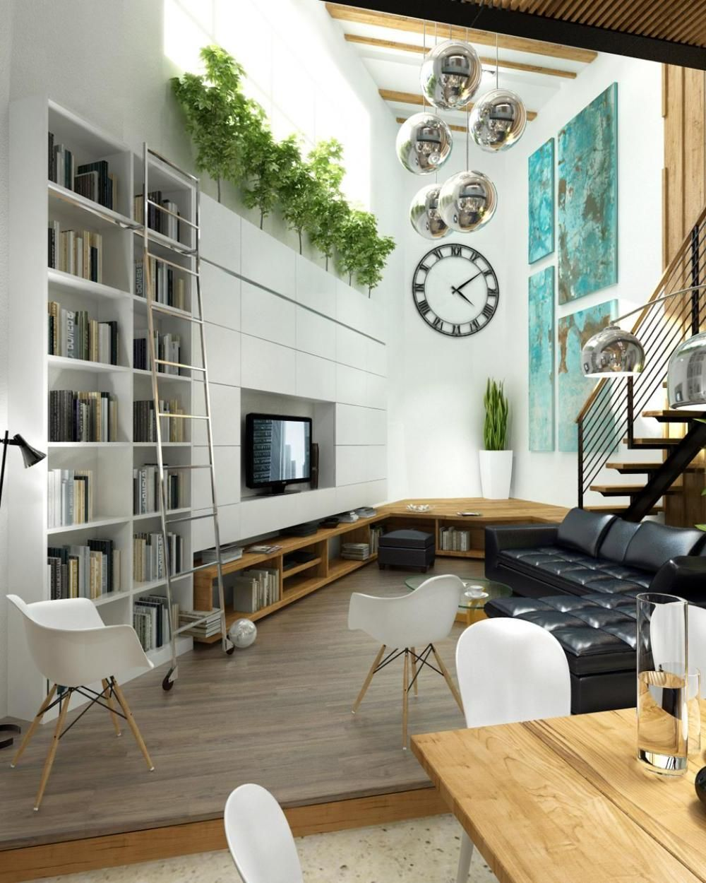 narrow-interior-with-White-living-room-black-L-shaped-sofa ...