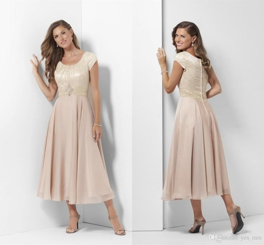 db9e3048b2ed4 2017 Simple Mother Of The Bride Dresses Short Sleeves Champagne Chiffon  Lace Appliques Plus Size Tea Length Wedding Guest Dress Mother Dress Mother  Of The ...