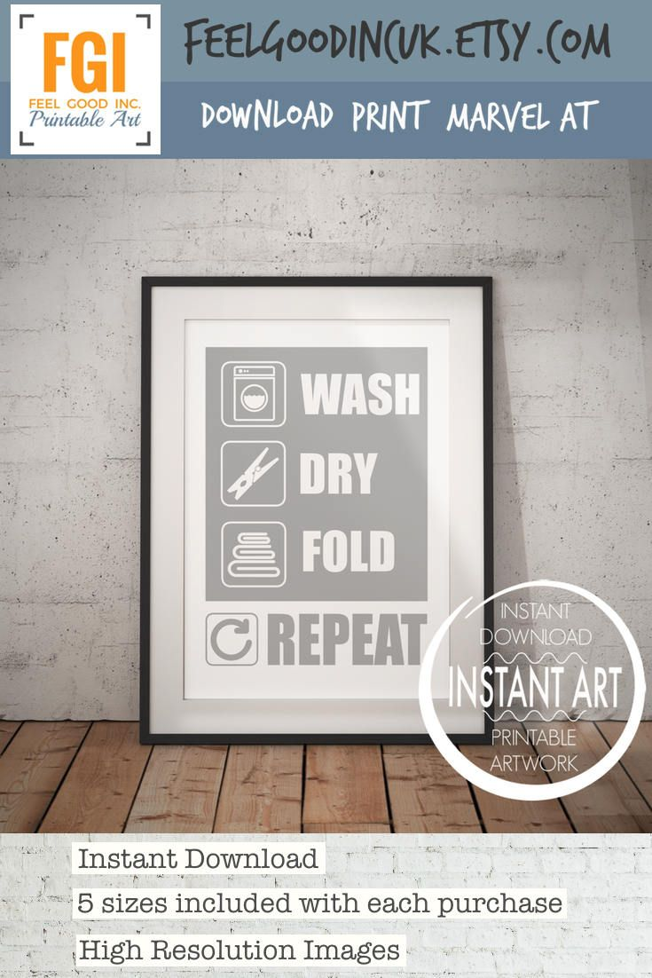 Grey laundry sign wash dry fold repeat laundry wall sign
