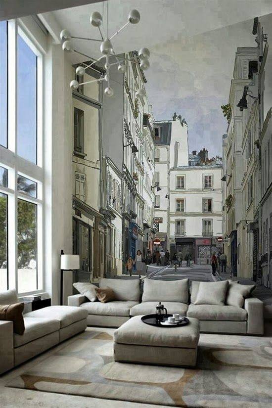 15 living rooms with interesting mural wallpapersexcelente idea de murales en casa! paris wallpaper, photo wallpaper, city wallpaper,