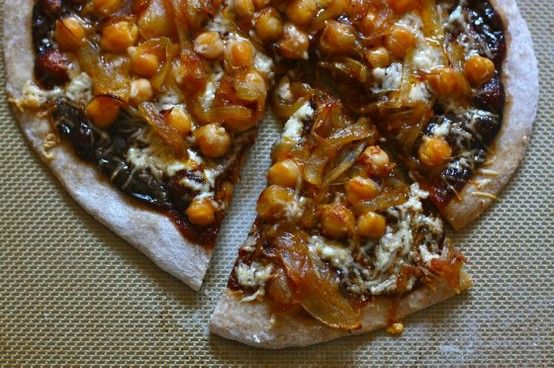 bbq chickpea pizza with gouda & caramelized onions