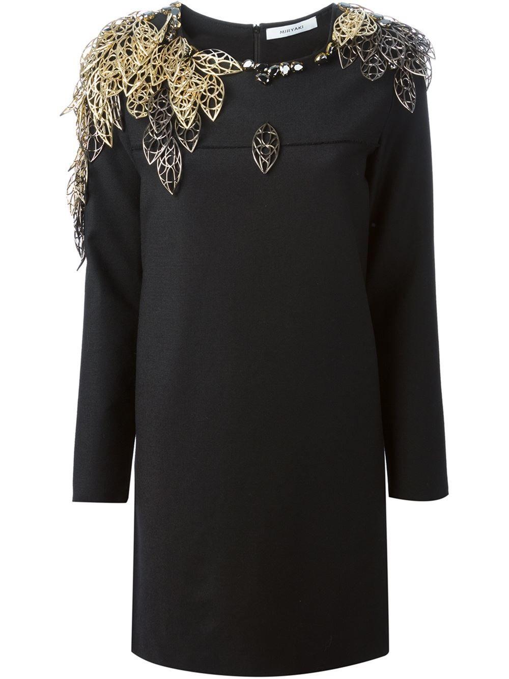 miryaki embellished shoulders loose fit dress - twist'n