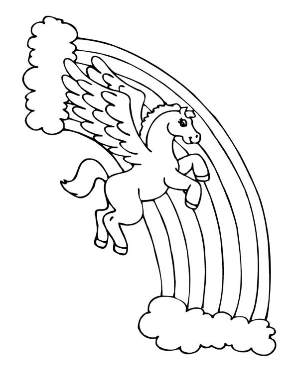 Pegasus Over the Rainbow Coloring Page - NetArt di 2020 ...