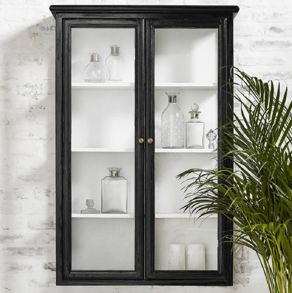 Glam Vintage Style Black Bathroom Ideas Wall Cabinet Bathroom Wall Cabinets Glass Cabinets Display