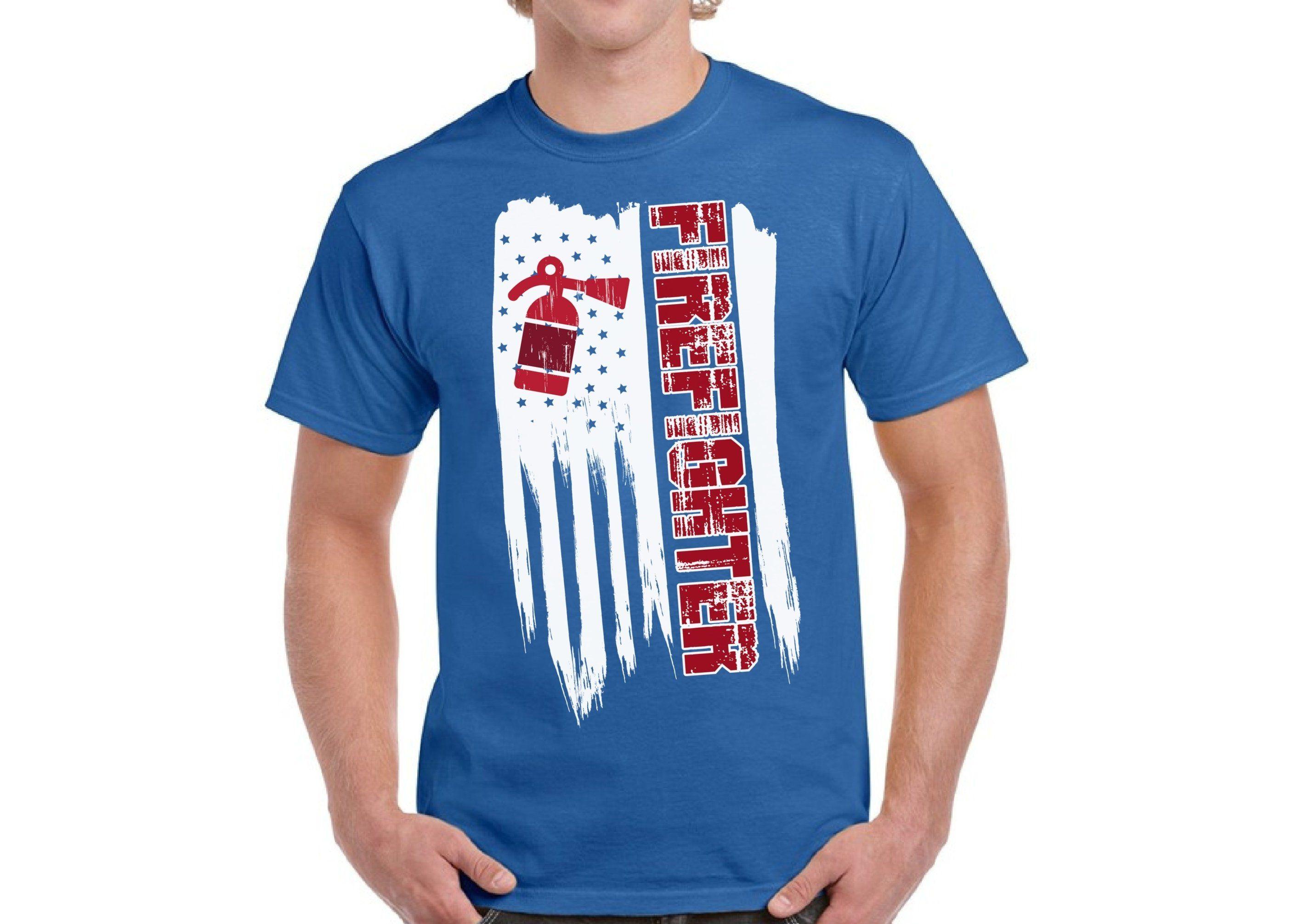 American Firefighter Mens Short Sleeve T-Shirt Print Tees Tops