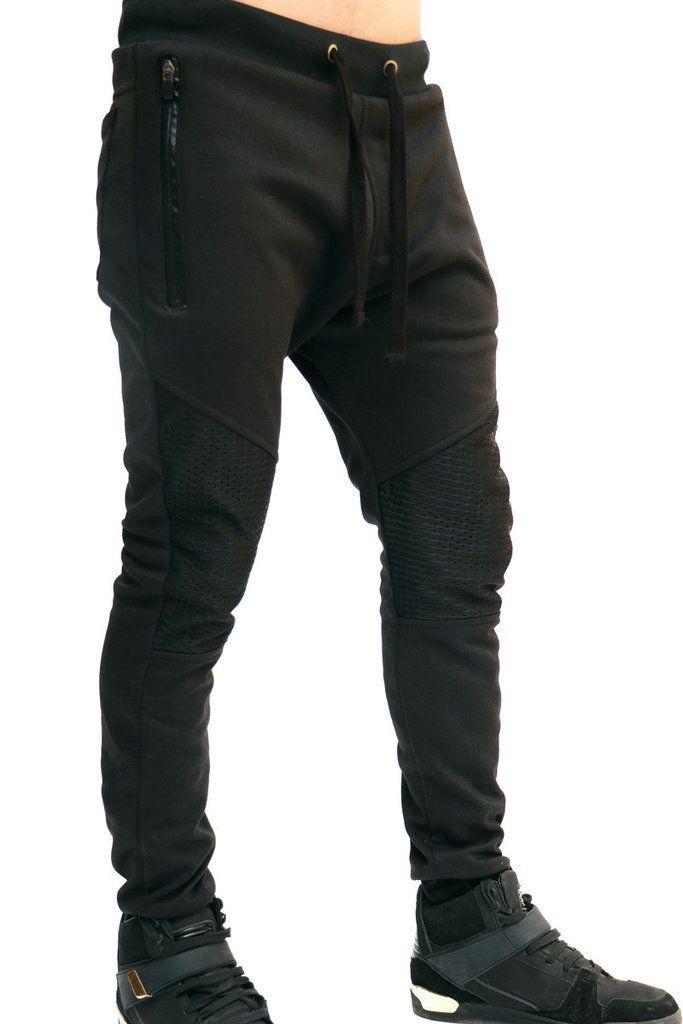 Joggers Para Hombre - Jogger Negro Rodillas En Malla – urbanwearco ... 2650d8e05431