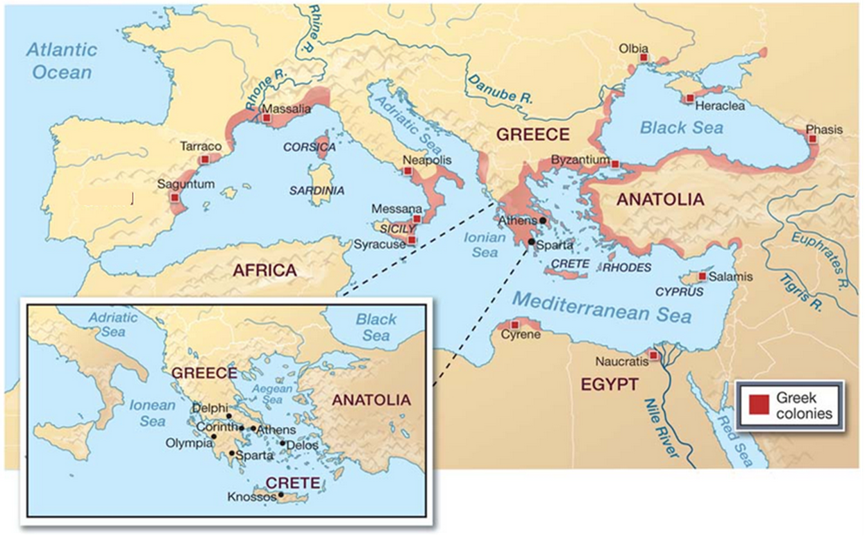 Greek colonies throughout the Mediterranean Sea region ...