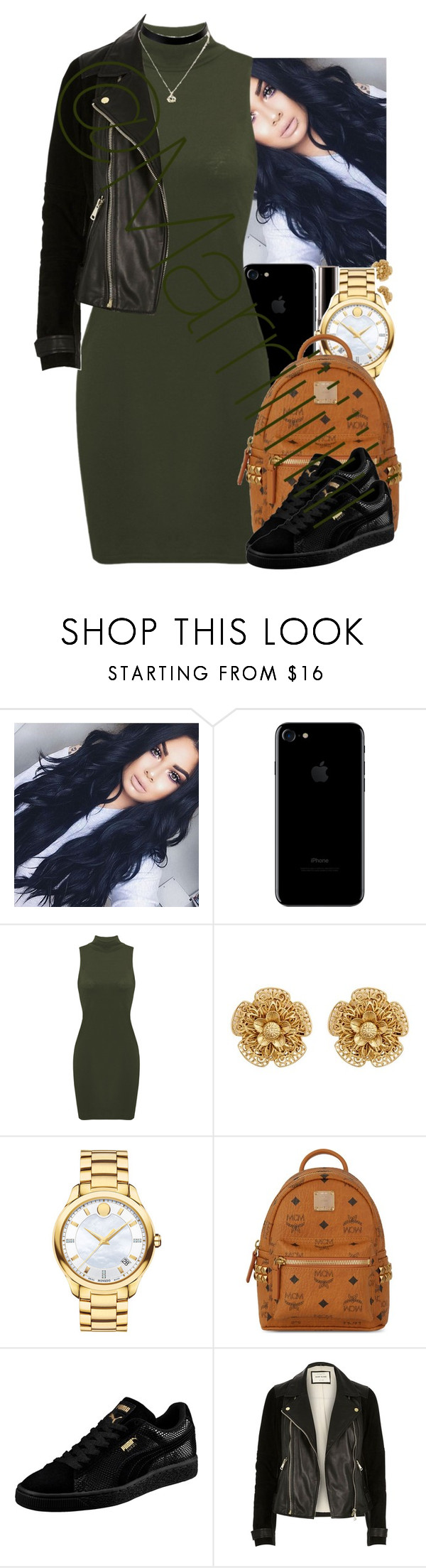 """Fall Green"" by marriiiiiiiii on Polyvore featuring Miriam Haskell, Movado, MCM, Puma and River Island"