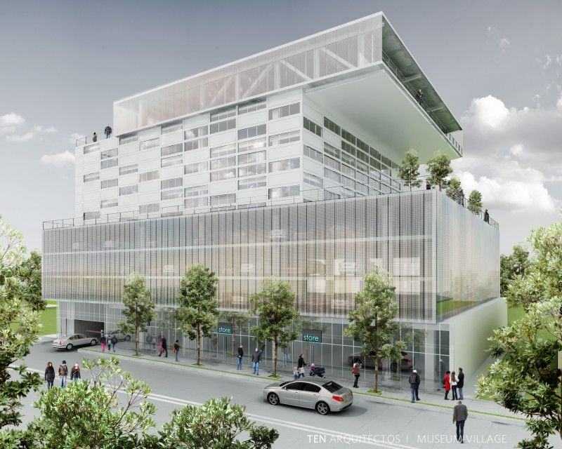 office building design green concept around of trees office