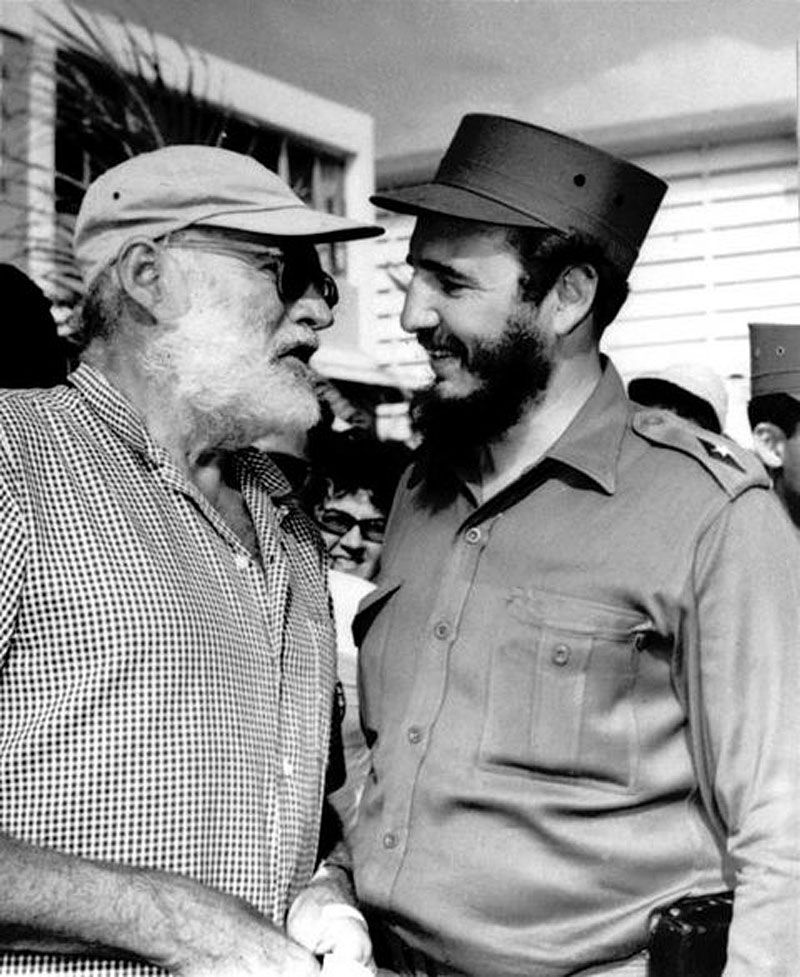 Nobel Prize And Pulitzer Winning Author Ernest Hemingway Meeting With Fidel Castro In Cuba Lived Had A Home From The 1930s