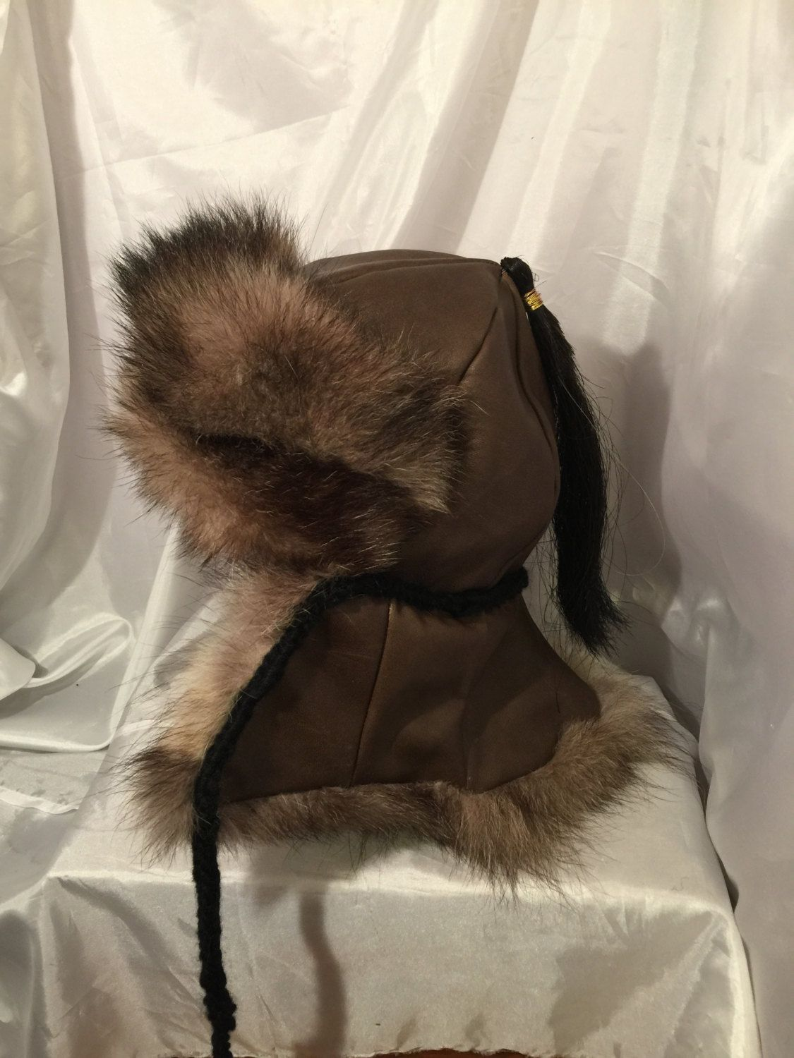 24250ab93 Mongolian, Russian, Norse fur hat with ear flaps & fur down the back ...