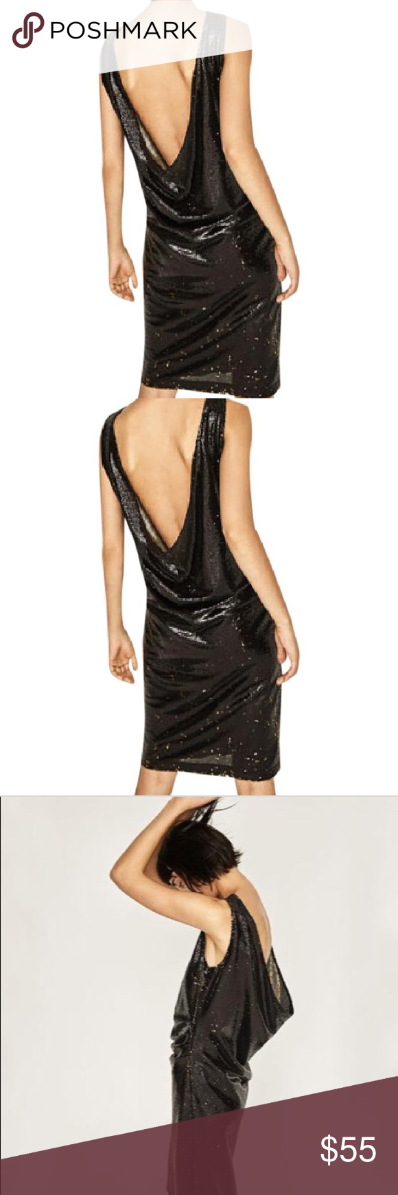 d8a5fe441e Zara Black Gold Sequined open back dress NET Sz S Gorgeous Open Back Tube  Dress Fully lined