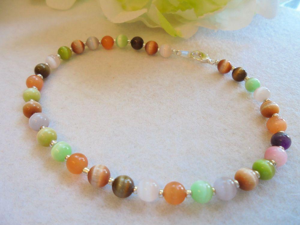 "ANKLE BRACELET Multi Colored Cat's Eye Beads Colorful Beads 9¾"" J&K Originals #JKOriginals"