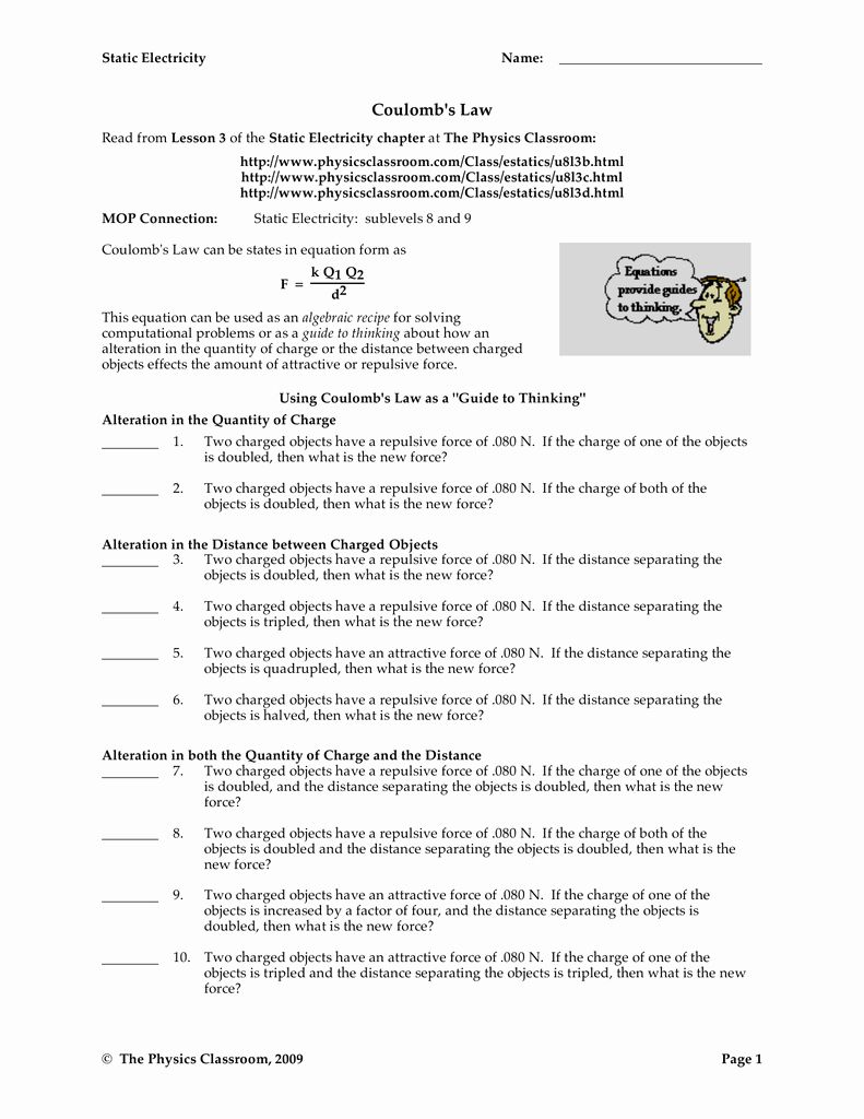 Boyle 039 S Law Worksheet Answer Key Unique Worksheet Coulombs Law Answer Key Physics Fundamentals In 2020 Answer Keys Worksheets Physics Classroom