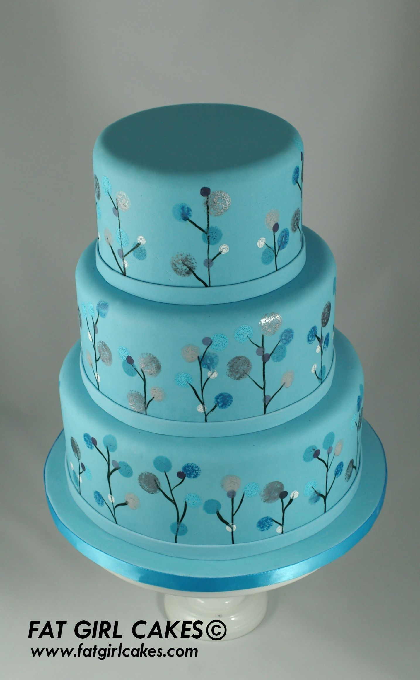 Fat Girl Cakes pretty blue with painted flowers Decorated Cakes