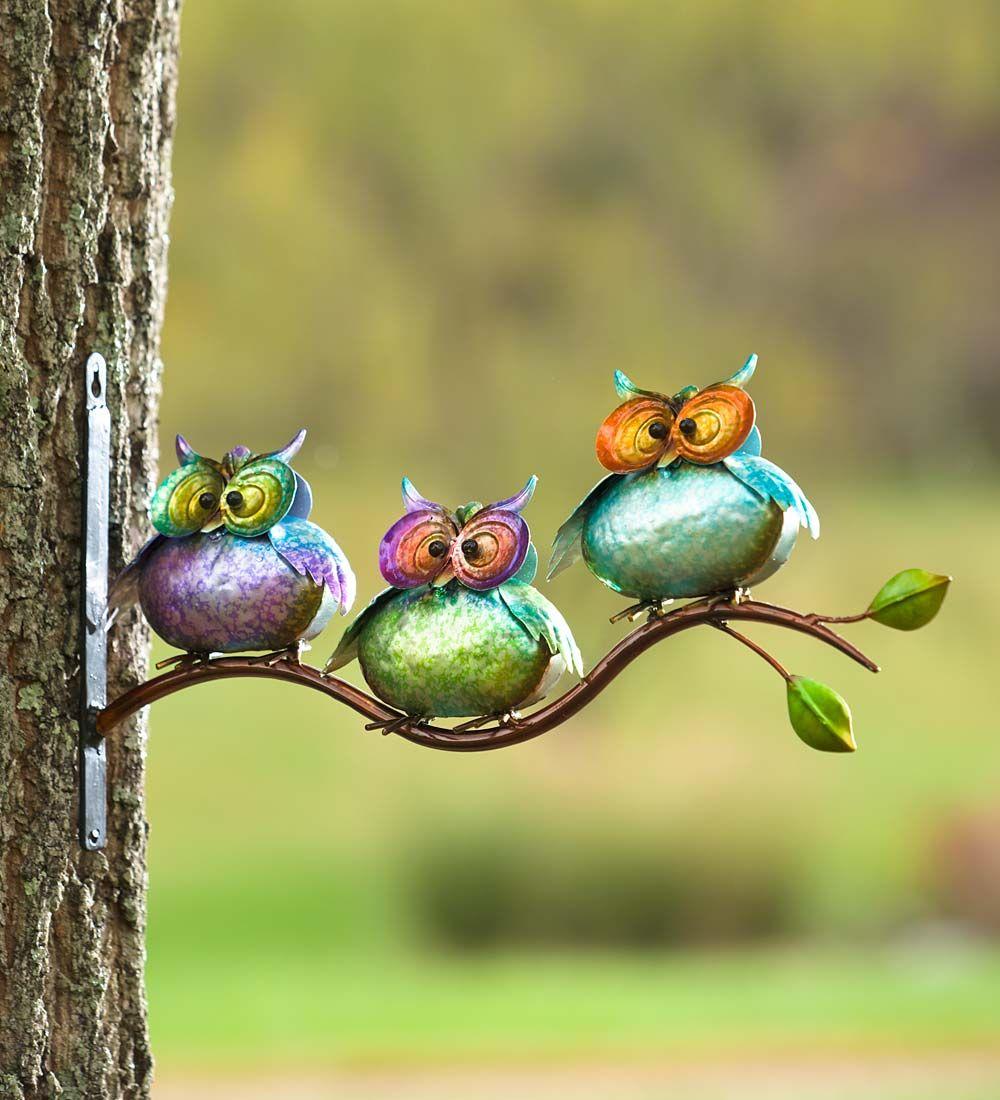 3 Metal Owls on Branch Wall Art | Decorative Garden Accents | Owls ...