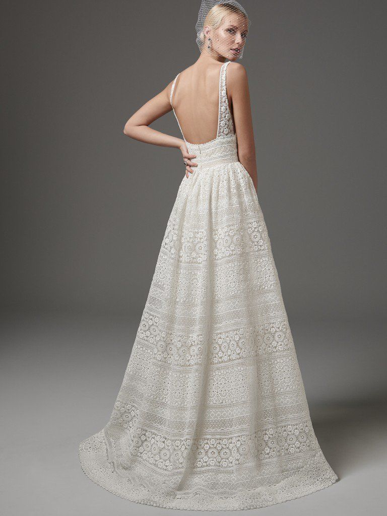 Maggie sottero wedding dresses eyelet lace floral motif and neckline