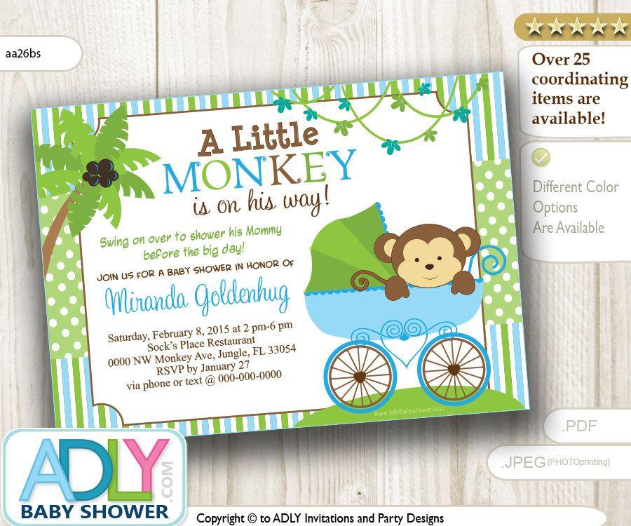 Blue Monkey Stroller Baby Shower Invitation card, Cute little monkey ...