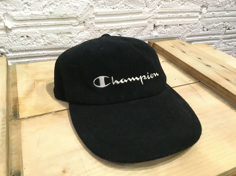70d0772c Vintage Champion cap embroidered big logo spell out strapback cap Black  Excellent condition by AlivevintageShop on Etsy