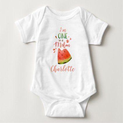 Watermelon baby bodysuite One in a melon girl Baby Bodysuit   Zazzle.com