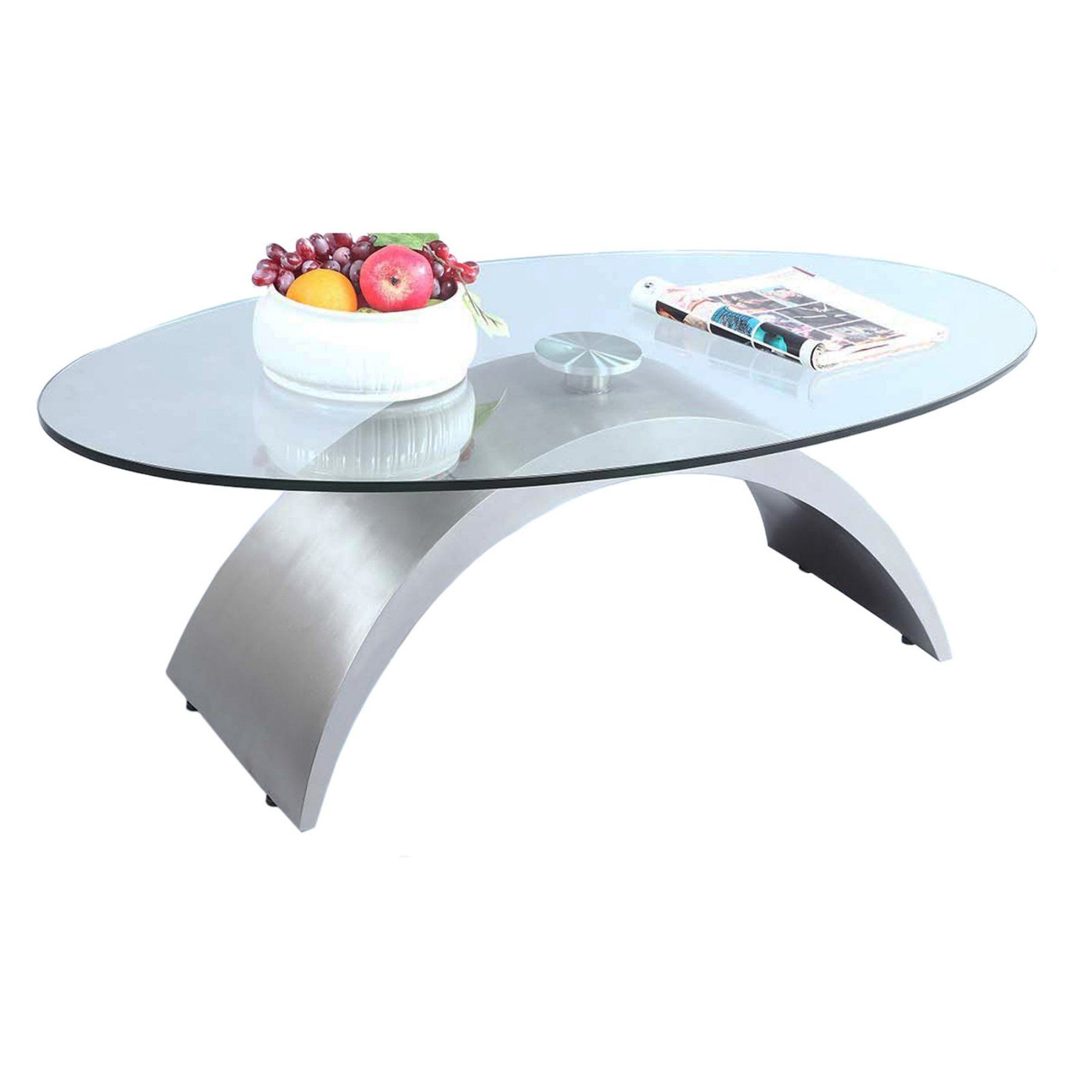 Chintaly Oval Glass Top Coffee Table CTY2335