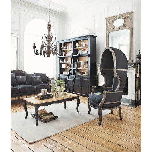 Bibliothèque avec échelle en pin massif noir Furniture placement - Meuble Bibliotheque Maison Du Monde