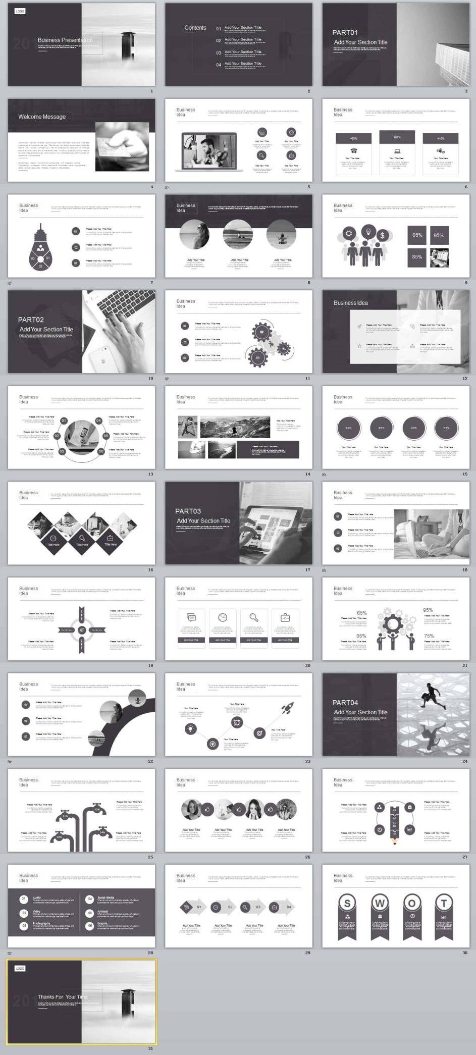 31+ Best Gray business powerpoint Template