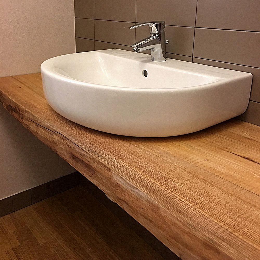 Piana lavabo realizzata in legno di Olmo, mensole e specchio ...