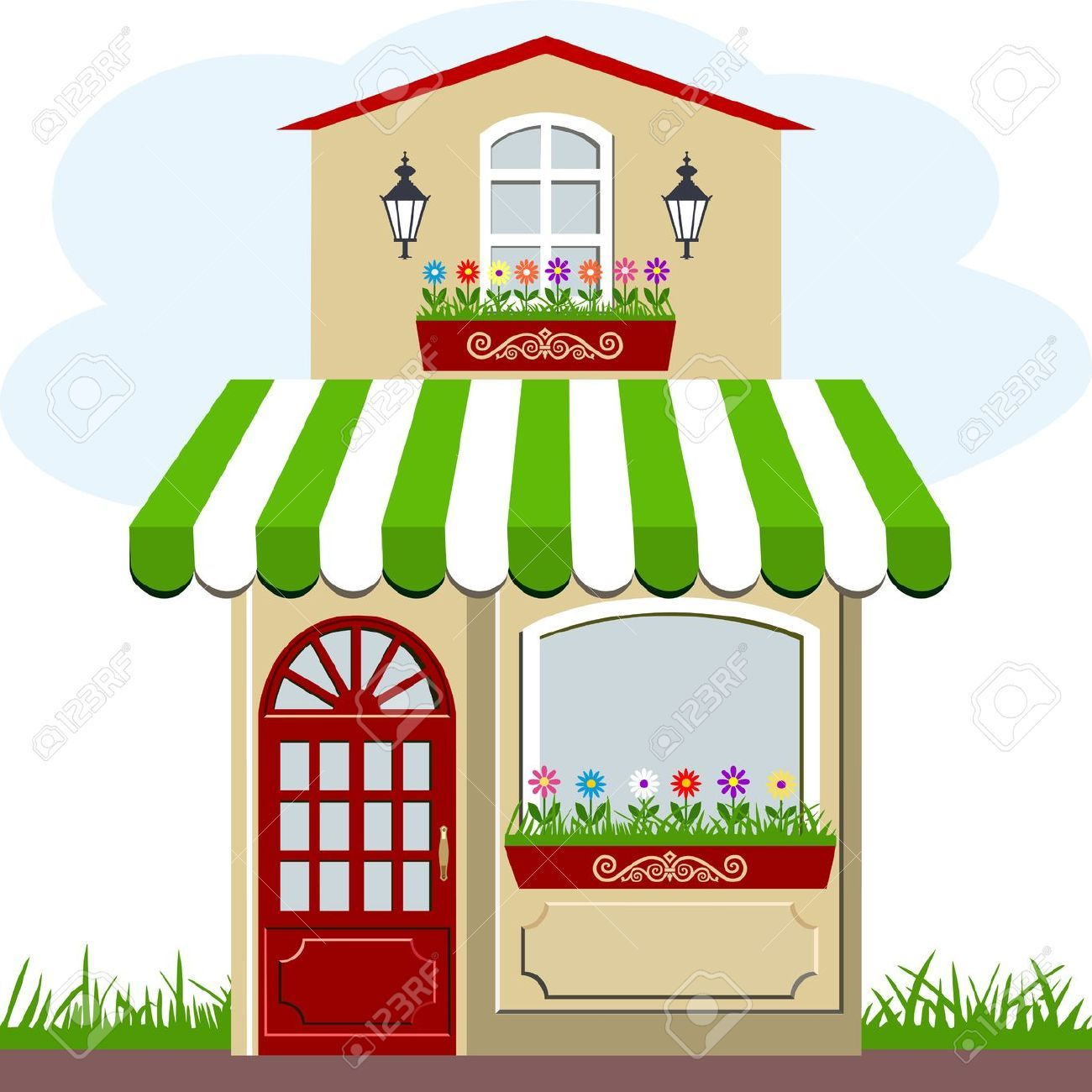 Cute Little House And Store Cute Little Houses Cute House House Clipart