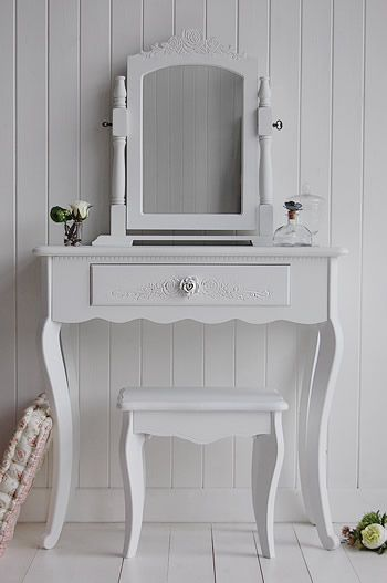 small white vanity table. White bedroom furniture  The Peony small dressing table finished in white shown with the