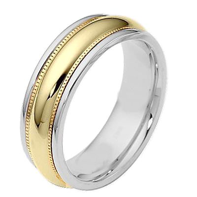 18k Two Tone White Yellow Gold Wedding Band Mens Man Domed Milgrain Ring 6 5mm Mens Wedding Rings Wedding Rings Yellow Gold Wedding Band