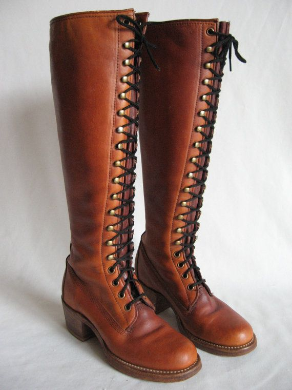 0078372b4 RARE vtg 70's FRYE Campus Lace up Boots SZ4 Black Label USA made Cognac  Brown Leather
