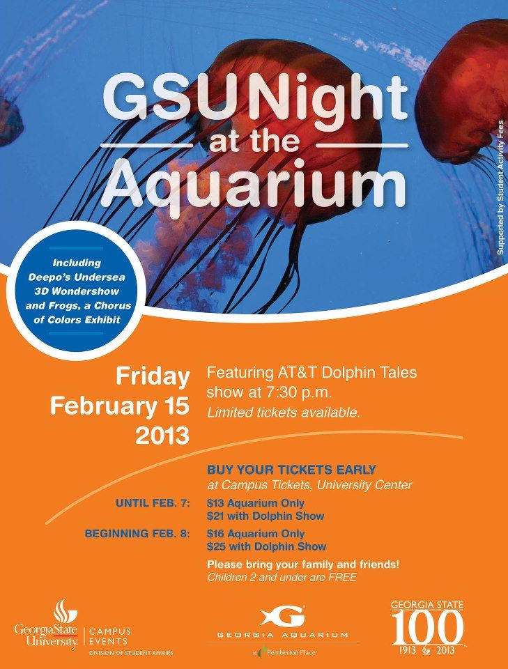 Gsu Night At The Aquarium Flyer Dolphin Tale Student
