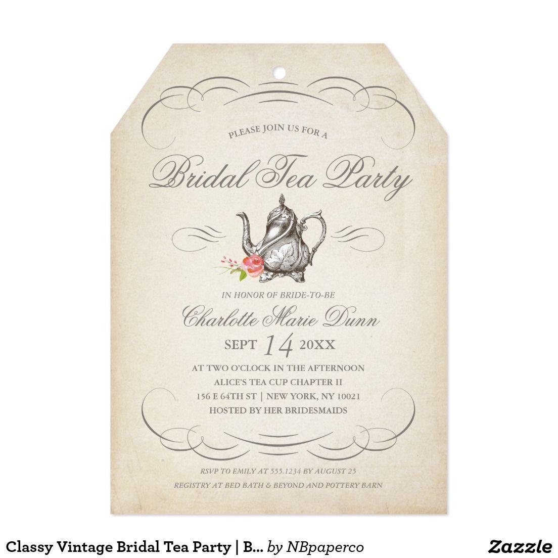 Classy Vintage Bridal Tea Party | Bridal Shower Card | Fabulous ...