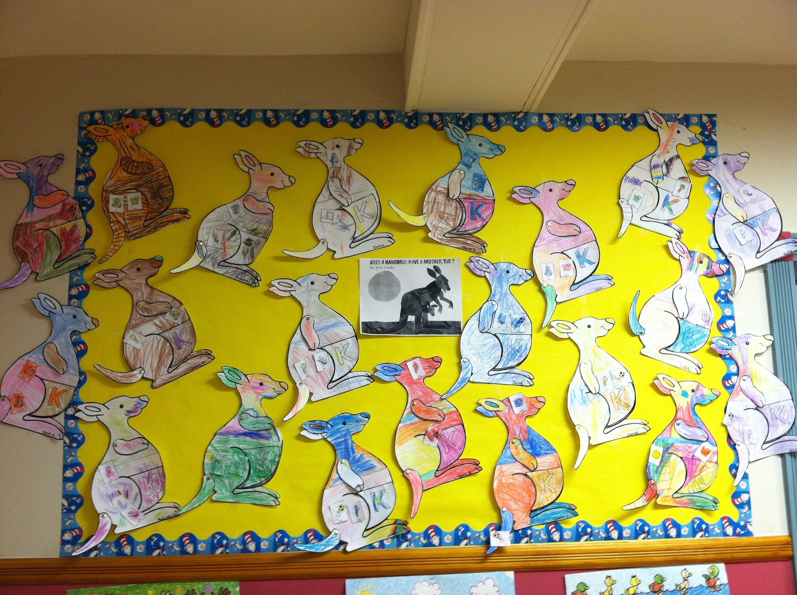 Bulletin board idea based in the book, Does a Kangaroo Have
