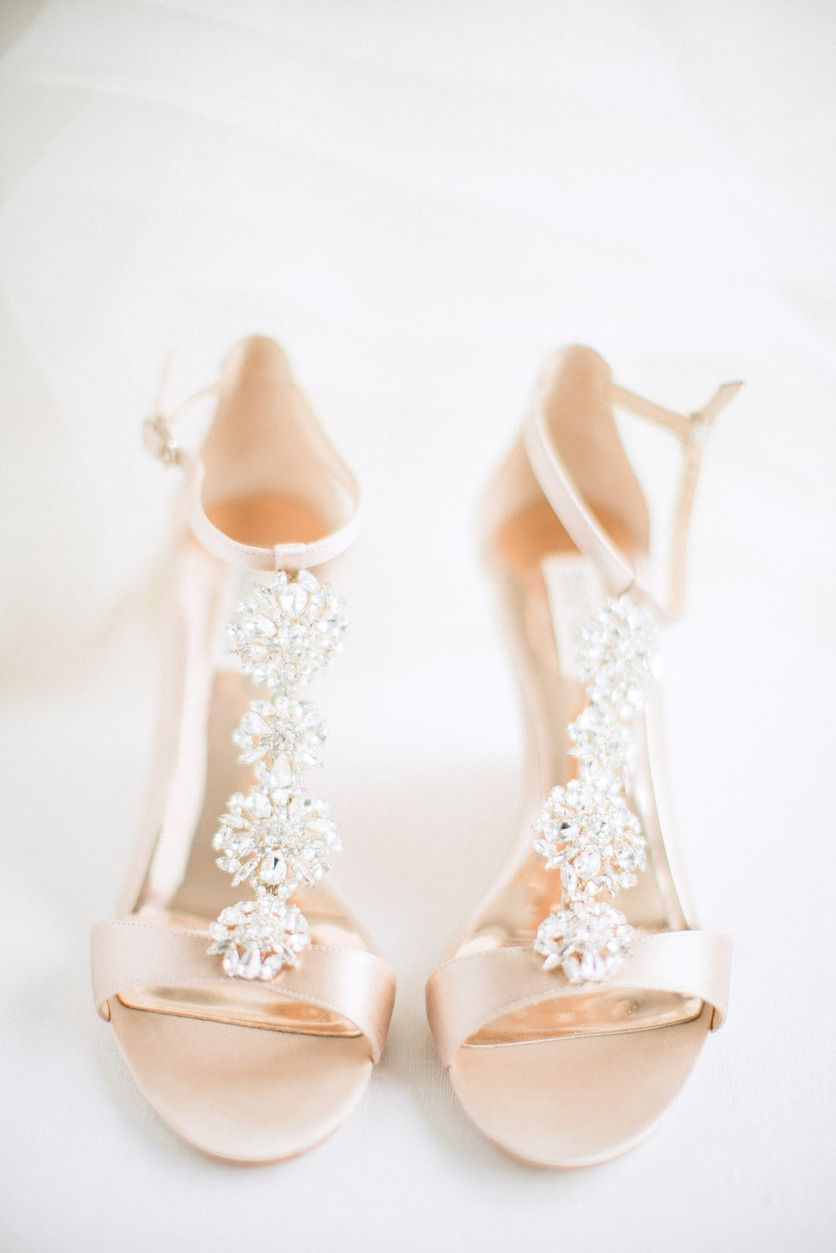Badgley Mischka Leigh Embellished T Strap High Heel Sandals Champagne Satin Jeweled Wedding Shoe