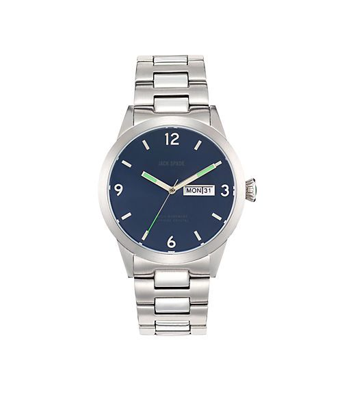 Love the green on navy; simple sans serif & the unexpected crown. Glenwood Watch - JackSpade